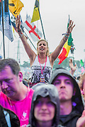 ELO fans brave the rain - The 2016 Glastonbury Festival, Worthy Farm, Glastonbury.