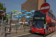 Stagecoach's 238 bus service to Stratford, entering its bus station with the Shoal Olympic artwork.