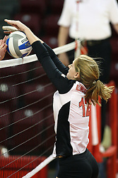 02 November 2012: Emily Schneider battles the net and a defender during an NCAA womens volleyball match between the Missouri State Bears and the Illinois State Redbirds at Redbird Arena in Normal IL
