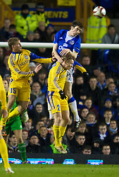 LIVERPOOL, ENGLAND - Thursday, December 17, 2009: Everton's Shane Duffy in action against FC BATE Borisov's captain Dzmitry Likhtarovich during the UEFA Europa League Group I match at Goodison Park. (Pic by David Rawcliffe/Propaganda)