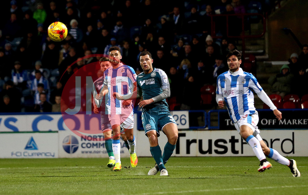 Yanic Wildschut of Wigan Athletic shoots at goal - Mandatory by-line: Robbie Stephenson/JMP - 28/11/2016 - FOOTBALL - The John Smith's Stadium - Huddersfield, England - Huddersfield Town v Wigan Athletic - Sky Bet Championship