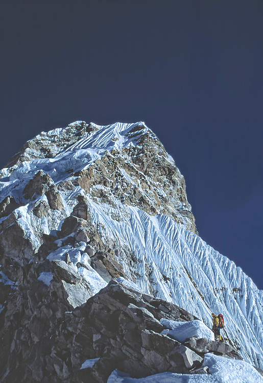Conrad Anker during a winter ascent of Ama Dablam in 1990