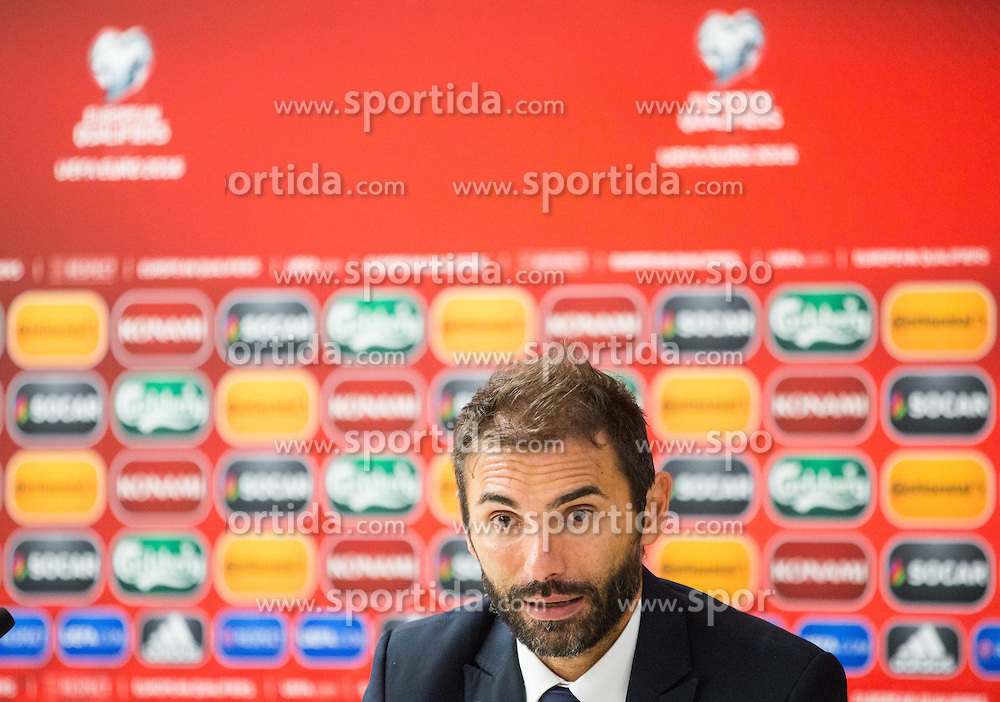 Pierangelo Manzaroli, head coach of San Marino at press conference after the football match between National teams of San Marino and Slovenia in Group E of EURO 2016 Qualifications, on October 12, 2015 in Stadio Olimpico Serravalle, Republic of San Marino. Photo by Vid Ponikvar / Sportida