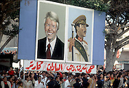 A 28 MG IMAGE OF:president Jimmy Carter visits Anwar Sadat in Egypt. Signs along the parade route in Alexandria..Photo by Dennis Brack  C B