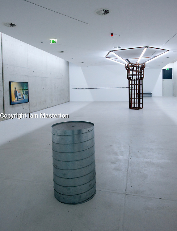 Modern art exhibits by young artists on display at KIT Kunst im Tunnel art gallery in disused road tunnels underneath streets of Dusseldorf in Germany