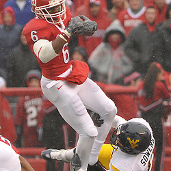 Dec 5, 2009; Piscataway, NJ, USA; Rutgers wide receiver Mohamed Sanu (6) makes a catch in traffic during first half NCAA Big East college football action between Rutgers and West Virginia at Rutgers Stadium.