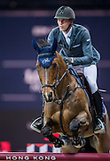 HONG KONG - FEBRUARY 20:  Kevin Staut of France rides For Joy van«t Zorgvliet HDC during the Airbus Trophy as part of the 2016 Longines Masters of Hong Kong on February 20, 2016 in Hong Kong, Hong Kong.  (Photo by Aitor Alcalde Colomer/Getty Images)