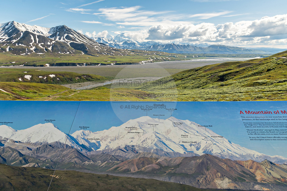 Map showing what is ahead in view including the Alaska Range, Denali and the McKinley River from the Eielson Bluffs in Denali National Park Alaska. Denali National Park and Preserve encompasses 6 million acres of Alaska's interior wilderness.
