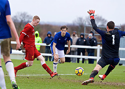 "LIVERPOOL, ENGLAND - Saturday, February 10, 2018: Liverpool's Glen McAuley scores a goal in injury time of the first half, pulling a goal back to make the score 3-1, during an Under-18 FA Premier League match between Everton FC and Liverpool FC, the ""mini-mini-Merseyide Derby"" at Finch Farm. (Pic by David Rawcliffe/Propaganda)"