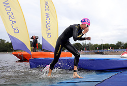 Austria's Therese Feuersinger exits the water during the Triathlon Mixed team relay during day ten of the 2018 European Championships at Strathclyde Country Park, Lanarkshire. PRESS ASSOCIATION Photo. Picture date: Saturday August 11, 2018. See PA story TRIATHLON European. Photo credit should read: John Walton/PA Wire. RESTRICTIONS: Editorial use only, no commercial use without prior permission