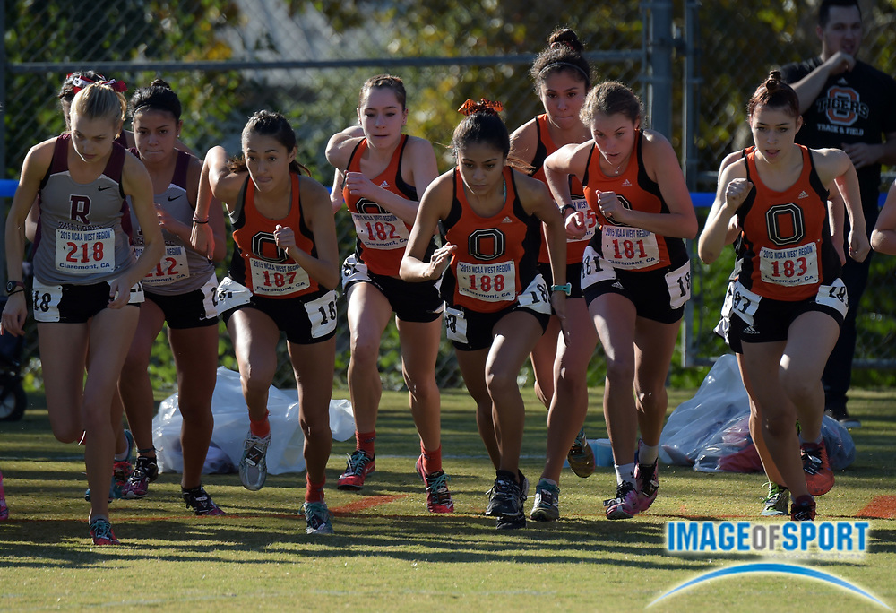 Nov 14, 2015; Claremont, CA, USA; Occidental College runners at the start of the womens race during the 2015 NCAA Division III West Regionals cross country championships at Pomona-Pitzer College. From left: Eva Townsend (187), Melina Devoney (182), Roxanne Valle (188), Aria Blumm (181) and Natalie Gradwohl (183).