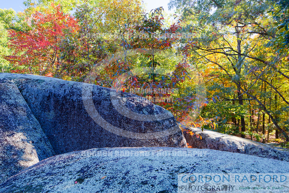 Elephant Rocks State Park encompasses an outcropping of Precambrian granite in the Saint Francois Mountains. It is named for a string of large granite boulders which resemble a train of pink circus elephants.