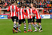 Goal - Lloyd James (4) of Exeter City celebrates scoring a goal to give a 1-0 lead to the home team during the EFL Sky Bet League 2 match between Exeter City and Wycombe Wanderers at St James' Park, Exeter, England on 10 February 2018. Picture by Graham Hunt.