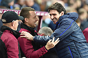 Nottingham Forest manager Aitor Karanka  embraces Aston Villa assistant manager John Terry during the EFL Sky Bet Championship match between Aston Villa and Nottingham Forest at Villa Park, Birmingham, England on 28 November 2018.