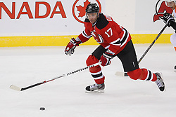Jan 22, 2013; Newark, NJ, USA; New Jersey Devils left wing Ilya Kovalchuk (17) skates with the puck during the first period of their game against the Philadelphia Flyers at the Prudential Center.