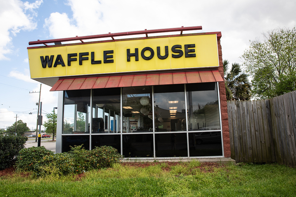 Waffle house on Eyslian Field in New Orleans closed temporarily ue to the coronavirus pandemic.