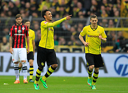 15.02.2014, Signal Iduna Park, Dortmund, GER, 1. FBL, Borussia Dortmund vs Eintracht Frankfurt, 21. Runde, im Bild Pierre-Emerick Aubameyang (Borussia Dortmund #17) beim Torjubel nach seinem Treffer zum 1:0 mit Lukas Piszczek (Borussia Dortmund #26), Marco Russ (Eintracht Frankfurt #4), Martin Lanig (Eintracht Frankfurt #13) enttaeuscht, Emotion, Freude, Glueck, Positiv<br /> <br /> korrigiert // during the German Bundesliga 21th round match between Borussia Dortmund and Eintracht Frankfurt at the Signal Iduna Park in Dortmund, Germany on 2014/02/15. EXPA Pictures © 2014, PhotoCredit: EXPA/ Eibner-Pressefoto/ Schueler<br /> <br /> *****ATTENTION - OUT of GER*****