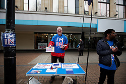 UK ENGLAND LONDON CROYDON 16APR16 - Alan Bedford of the I'm In campaign mans his stall on the Croydon high street in south London.<br /> <br /> jre/Photo by Jiri Rezac<br /> <br /> &copy; Jiri Rezac 2016