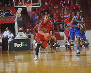 "Ole Miss guard Trevor Gaskins (23)  heads upcourt at the C.M. ""Tad"" Smith Coliseum in Oxford, Miss. on Tuesday, February 1, 2011. Ole Miss won 71-69."