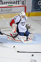 KELOWNA, CANADA, OCTOBER 5: Ty Rimmer #35 of the Tri City Americans makes a save during second period against the Kelowna Rockets on October 5, 2011 at Prospera Place in Kelowna, British Columbia, Canada (Photo by Marissa Baecker/shootthebreeze.ca) *** Local Caption ***Ty Rimmer;