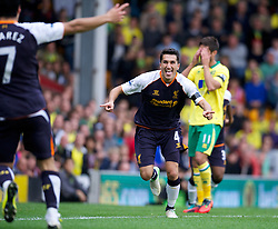 NORWICH, ENGLAND - Saturday, September 29, 2012: Liverpool's Nuri Sahin celebrates scoring the third goal against Norwich City during the Premiership match at Carrow Road. (Pic by David Rawcliffe/Propaganda)