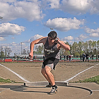 Clymer/Panama/Sherman's Tom Lee en-route to wining the Boys Shot Put completion at the Joseph Paterniti Memorial Track and Field Classic at Strider Field 5-13-16 photo by Mark L. Anderson