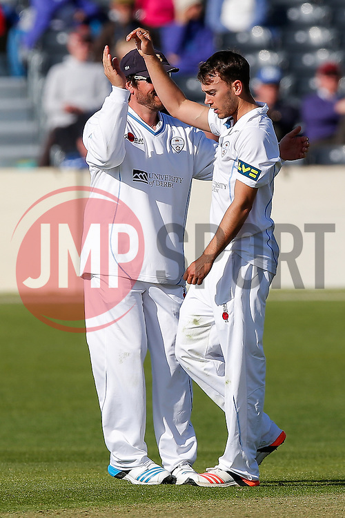 Alex Hughes of Derbyshire celebrates after he bowls out James Hughes of Gloucestershire by L.B.W for 6 - Photo mandatory by-line: Rogan Thomson/JMP - 07966 386802 - 26/04/2015 - SPORT - CRICKET - Bristol, England - Bristol County Ground - Gloucestershire v Derbyshire — Day 1 - LV= County Championship Division Two.