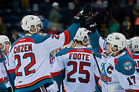 KELOWNA, CANADA - MARCH 11: Braydyn Chizen #22 and Rodney Southam #17 of the Kelowna Rockets celebrate the OT win against the Victoria Royals on March 11, 2017 at Prospera Place in Kelowna, British Columbia, Canada.  (Photo by Marissa Baecker/Shoot the Breeze)  *** Local Caption ***