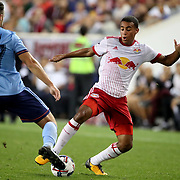 HARRISON, NEW JERSEY- AUGUST 25: Tyler Adams #4 of New York Red Bulls challenged by RJ Allen #27 of New York City FC during the New York Red Bulls Vs New York City FC MLS regular season match at Red Bull Arena, Harrison, New Jersey on August 25, 2017 in Harrison, New Jersey. (Photo by Tim Clayton/Corbis via Getty Images)