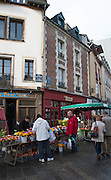 Rennes, FRANCE. General Views GV's. Rennes weekly regional market. Brittany,<br /> Vegetable's, Fruit, Flowers, Fish, Game, Meat, Cheese, local wine and cider, sold from stalls in the open and covered market  <br /> <br /> 08:32:16  Saturday  26/04/2014 <br /> <br />  [Mandatory Credit: Peter Spurrier/Intersport<br /> Images]