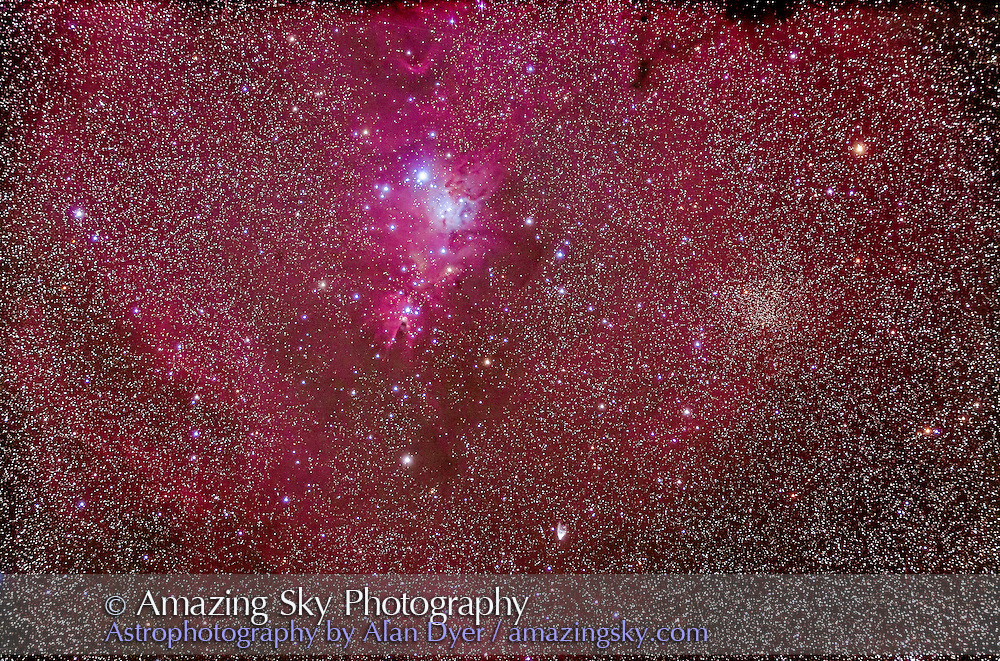 The Cone Nebula and the Christmas Tree star cluster NGC 2264 in Monoceros. Hubble's Variable Nebula NGC 2261 is also in the field at bottom centre, as a V-shaped naebula. The yellow star cluster at right is Trumpler 5. This is a stack of 5 x 13 minute exposures at ISO 800 with the filter-modified Canon 5D MkII and Astro-Physics 105mm Traveler apo refractor at f/5.8 with the 6x7 field flattener. Taken from Timor Cottage, Coonabarabran, Australia, Deceember 17/18, 2012. North is up.