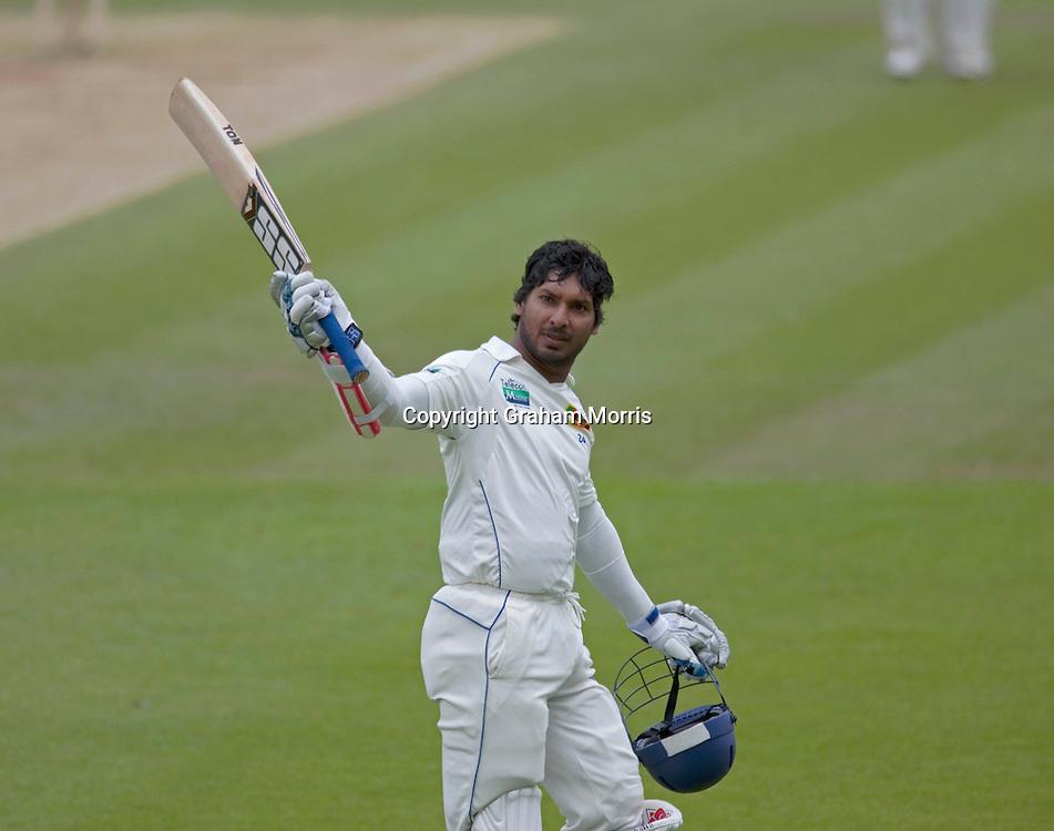 Kumar Sangakkara celebrates his century in the third npower Test Match between England and Sri Lanka at the Rose Bowl, Southampton.  Photo: Graham Morris (Tel: +44(0)20 8969 4192 Email: sales@cricketpix.com) 20/06/11