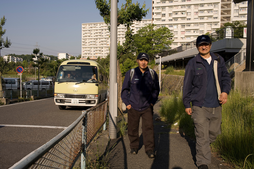 Many workers take employer provided mini buses to work every day Residents of the  Homi Danchi area of Toyota City,  Nearly all the  residents are Foreigners  with about 1/2 of them from Brazil. . Most  work at Toyota Factories or companies  of  the Toyota Group.