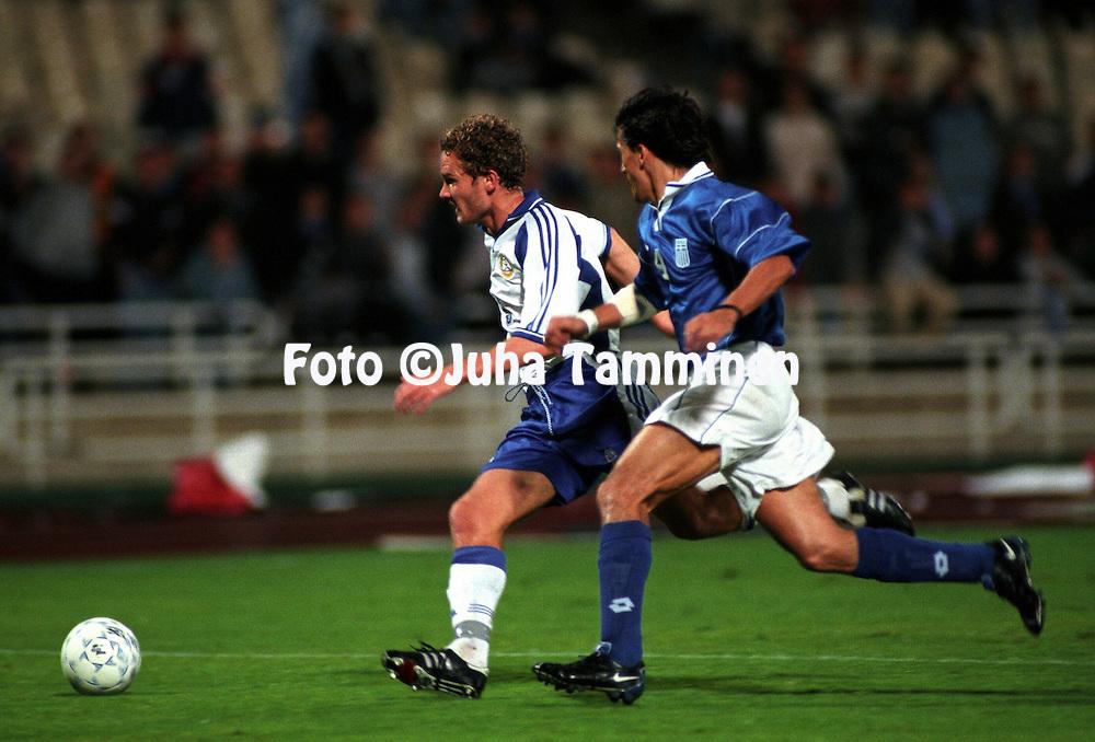 11.10.2000, Olympic Stadium, Athens, Greece. .FIFA World Cup 2002 Qualifying Match, Greece v Finland. .Jonatan Johansson - Finland.©JUHA TAMMINEN