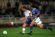 11.10.2000, Olympic Stadium, Athens, Greece. .FIFA World Cup 2002 Qualifying Match, Greece v Finland. .Jonatan Johansson - Finland.©JUHA TAMMINEN