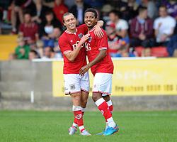 Korey Smith of Bristol City celebrates his goal with Luke Freeman of Bristol City - Photo mandatory by-line: Dougie Allward/JMP - Mobile: 07966 386802 - 05/07/2015 - SPORT - Football - Bristol - Brislington Stadium - Pre-Season Friendly