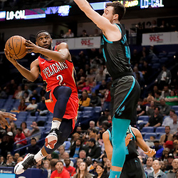 Apr 3, 2019; New Orleans, LA, USA;  New Orleans Pelicans guard Ian Clark (2) shoots as Charlotte Hornets forward Frank Kaminsky (44) defends during the second half at the Smoothie King Center. Mandatory Credit: Derick E. Hingle-USA TODAY Sports