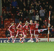 Aberdeen&rsquo;s Adam Rooney celebrates after scoring the winning goal - Aberdeen v Dundee, Ladbrokes Premiership at Pittodrie<br /> <br />  - &copy; David Young - www.davidyoungphoto.co.uk - email: davidyoungphoto@gmail.com