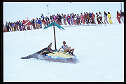 Peter Carew and Jerome Fack. Dangerous Sports Club ski race. St. Moritz. 1984.<br />