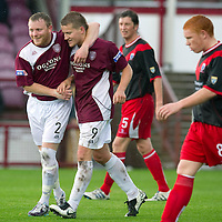 Arbroath v Airdrie Utd...17.09.11 <br /> Steven Doris celebrates his goal with Mark Baxter<br /> Picture by Graeme Hart.<br /> Copyright Perthshire Picture Agency<br /> Tel: 01738 623350  Mobile: 07990 594431