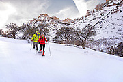 Mandi Eldridge and Elijah Weber snowshoeing in Thomas Canyon high in the Ruby Mountains in northern Nevada