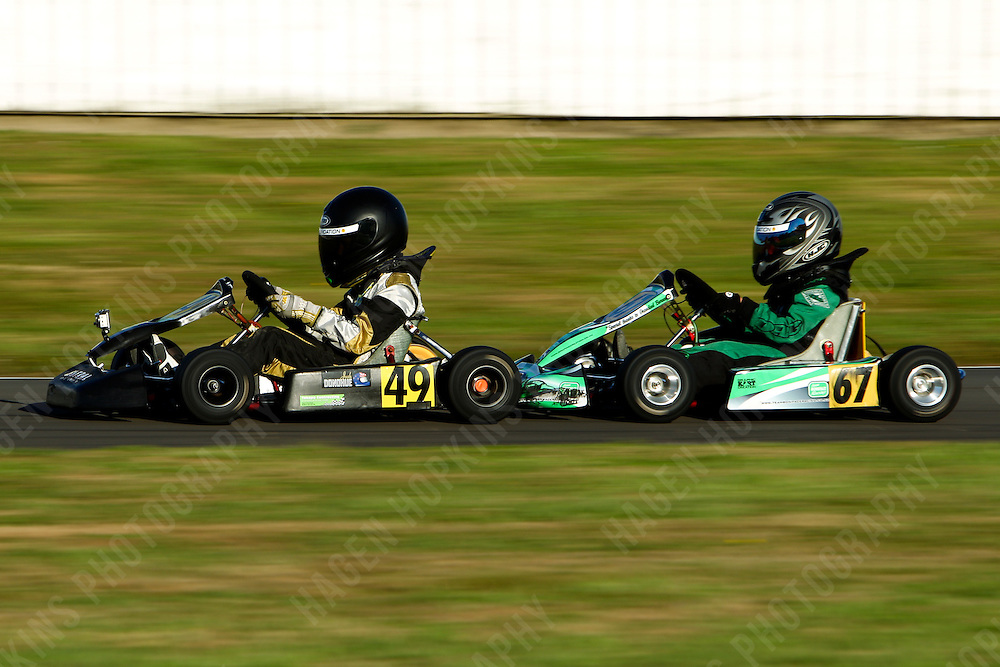 Josh Donohue, 49, Thomas Boniface, 67, 2012 Twilight Trans-Tasman Challenge at Manawatu Kart Club in Palmerston North, New Zealand on Saturday, 18 January 2012. Credit: Hagen Hopkins.