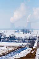 The cooling towers at the Byron Nuclear Power Plant dominate the horizon on this cold winter day near Byron, IL.