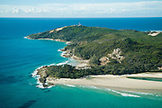 Aerial view of the Cape Moreton lighthouse and North Point (in fg), Moreton Island, Queensland, Australia