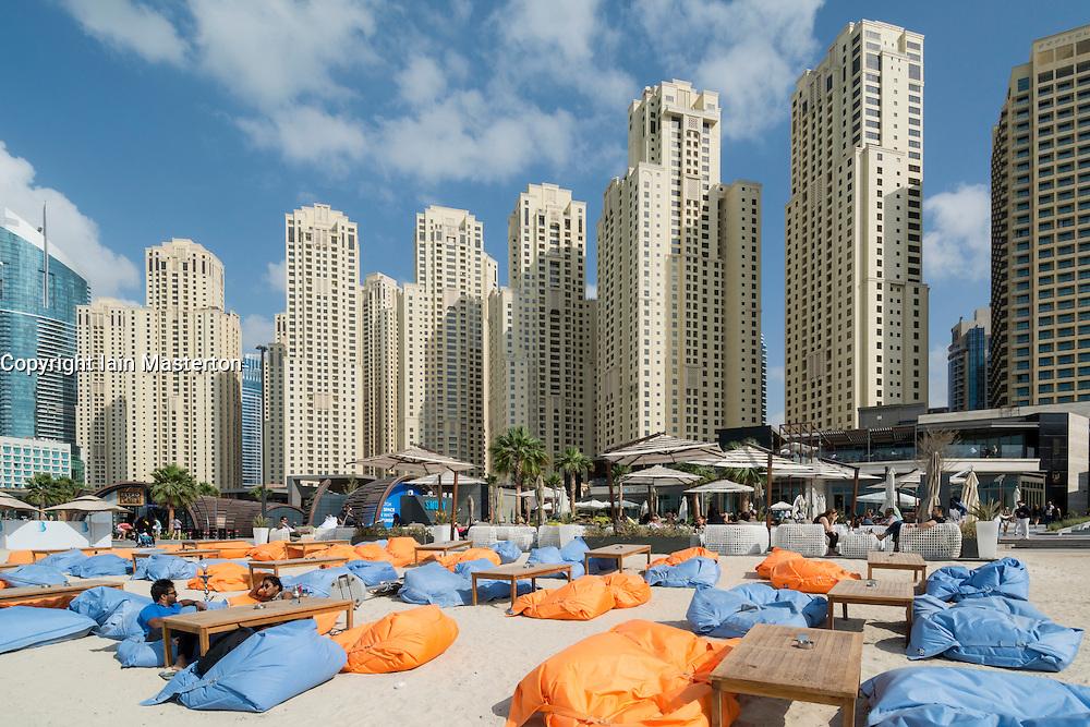 Outdoor cafe on beach at The Beach retail development in Jumeirah Beach Residence (JBR )Dubai UAE