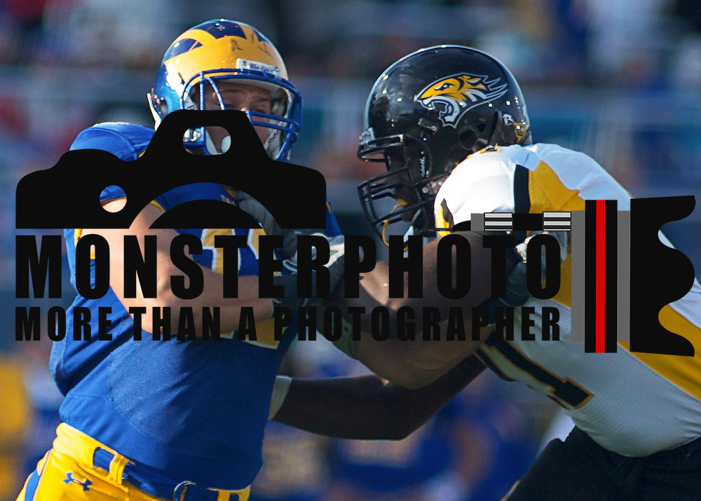 Delaware LB (#11) Matt Marcorelle battles LT (#71) Eric Pike. Delaware defeated Towson 48-0 on a brisk Saturday afternoon at Delaware stadium in Newark Delaware...Delaware improves to 8-1, Delaware will travel to Massachusetts to face the minute men of UMass Nov 13.