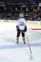 KELOWNA, CANADA, OCTOBER 11: The Pepsi Save-On Foods player of the game lines up with the Kelowna Rockets as the Medicine Hat Tigers visited the Kelowna Rockets on October 11, 2011 at Prospera Place in Kelowna, British Columbia, Canada (Photo by Marissa Baecker/shootthebreeze.ca) *** Local Caption ***