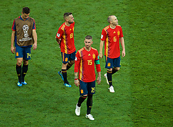 MOSCOW, RUSSIA - Sunday, July 1, 2018: Adios... Spain's Sergio Ramos walks off dejected with team-mate Jordi Alba and Andres Iniesta after losing 4-3 on penalties during the FIFA World Cup Russia 2018 Round of 16 match between Spain and Russia at the Luzhniki Stadium. (Pic by David Rawcliffe/Propaganda)