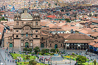Cuzco, Peru - July 13, 2013: aerial view of the Plaza de Armas of Cuzco city in the peruvian Andes