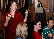 "Jene Rebbin Shaw (standing) during Mayhem & Mystery's production of ""Festival Fracas"" at the Spaghetti Warehouse in downtown Dayton, Monday, September 27, 2010."